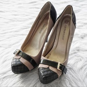 JustFab Brown and Black Belted Platform Pumps